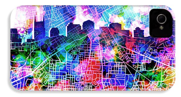 Nashville Skyline Watercolor 5 IPhone 4 Case