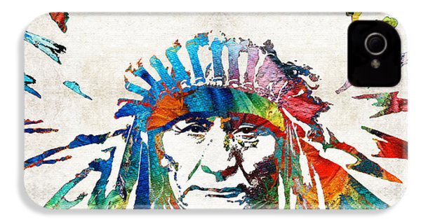 Native American Art - Chief - By Sharon Cummings IPhone 4 Case by Sharon Cummings