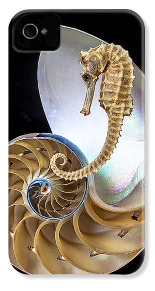 Nautilus With Seahorse IPhone 4 Case by Garry Gay