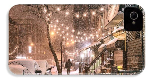 New York City - Winter Snow Scene - East Village IPhone 4 Case by Vivienne Gucwa