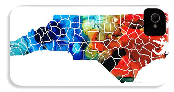 North Carolina - Colorful Wall Map By Sharon Cummings IPhone 4 / 4s Case by Sharon Cummings
