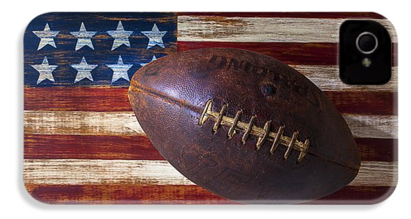 Old Football On American Flag IPhone 4 Case by Garry Gay