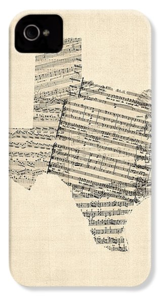 Old Sheet Music Map Of Texas IPhone 4 Case by Michael Tompsett