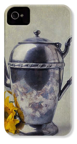 Old Teapot With Sunflower IPhone 4 Case by Garry Gay
