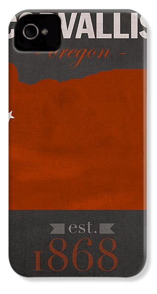 Oregon State University Beavers Corvallis College Town State Map Poster Series No 087 IPhone 4 Case by Design Turnpike
