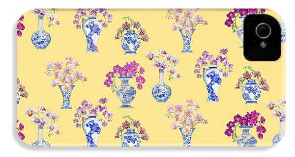 Oriental Vases With Orchids IPhone 4 / 4s Case by Kimberly McSparran