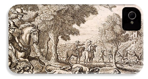 Otter Hunting By A River, Engraved IPhone 4 Case by Francis Barlow