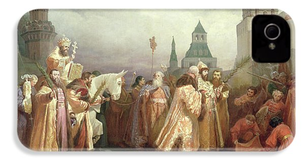 Palm Sunday Procession Under The Reign Of Tsar Alexis Romanov IPhone 4 Case by Viatcheslav Grigorievitch Schwarz