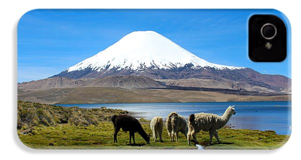 Parinacota Volcano Lake Chungara Chile IPhone 4 / 4s Case by Kurt Van Wagner