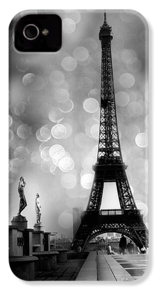 Paris Eiffel Tower Surreal Black And White Photography - Eiffel Tower Bokeh Surreal Fantasy Night  IPhone 4 Case by Kathy Fornal