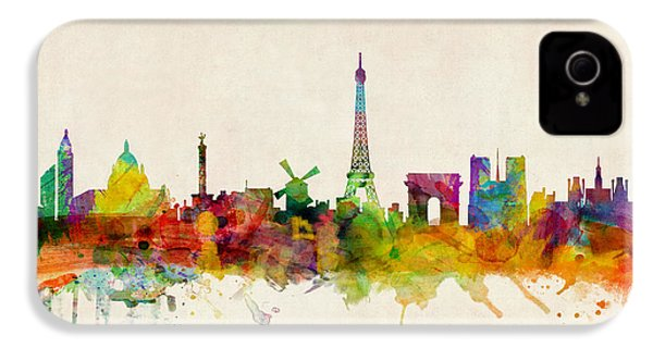 Paris France Skyline Panoramic IPhone 4 Case by Michael Tompsett