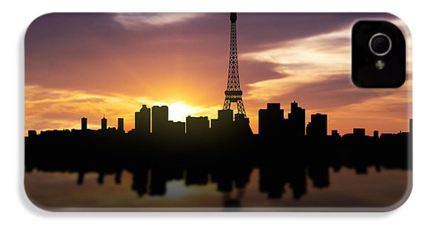 Paris France Sunset Skyline  IPhone 4 Case by Aged Pixel