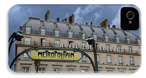 Paris Metropolitain Sign At The Paris Hotel Du Louvre Metropolitain Sign Art Noueveau Art Deco IPhone 4 Case by Kathy Fornal