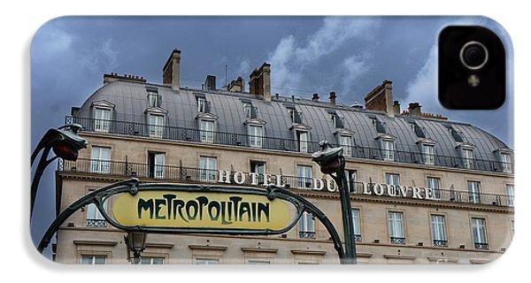 Paris Metropolitain Sign At The Paris Hotel Du Louvre Metropolitain Sign Art Noueveau Art Deco IPhone 4 / 4s Case by Kathy Fornal