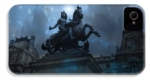 Paris Louvre Museum Blue Starry Night - King Louis Xiv Monument At Louvre Museum IPhone 4 Case by Kathy Fornal