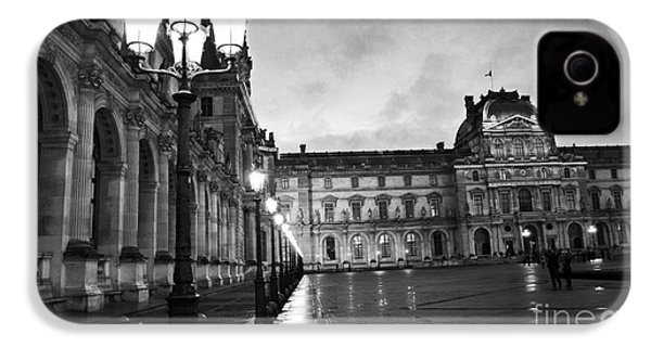 Paris Louvre Museum Lanterns Lamps - Paris Black And White Louvre Museum Architecture IPhone 4 Case by Kathy Fornal