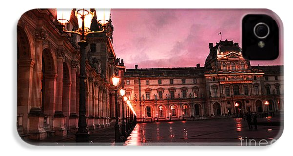 Paris Louvre Museum Night Architecture Street Lamps - Paris Louvre Museum Lanterns Night Lights IPhone 4 Case by Kathy Fornal