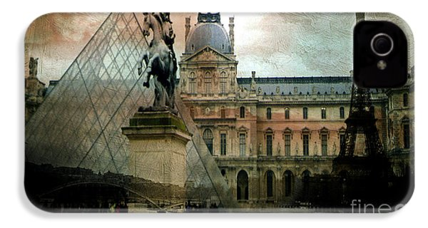 Paris Louvre Museum Pyramid Architecture - Eiffel Tower Photo Montage Of Paris Landmarks IPhone 4 Case by Kathy Fornal