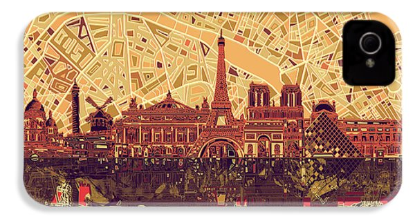 Paris Skyline Abstract Sepia IPhone 4 Case