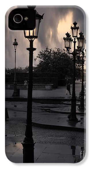 Paris Surreal Louvre Museum Street Lanterns Lamps - Paris Gothic Street Lamps Black Clouds IPhone 4 Case by Kathy Fornal