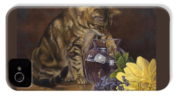 Paw In The Vase IPhone 4 Case by Lucie Bilodeau