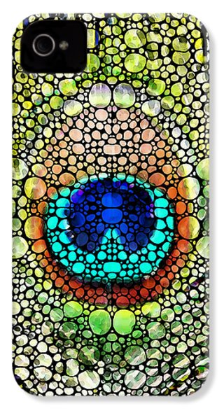 Peacock Feather - Stone Rock'd Art By Sharon Cummings IPhone 4 / 4s Case by Sharon Cummings