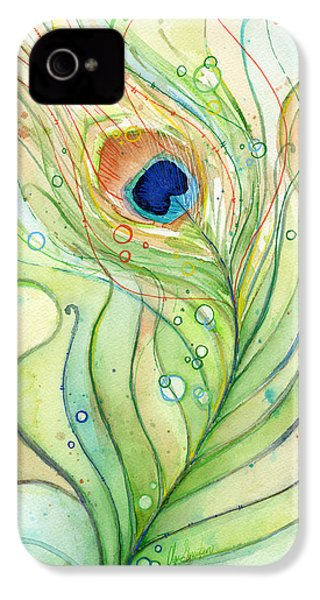 Peacock Feather Watercolor IPhone 4 Case by Olga Shvartsur