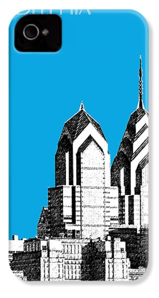 Philadelphia Skyline Liberty Place 1 - Ice Blue IPhone 4 / 4s Case by DB Artist