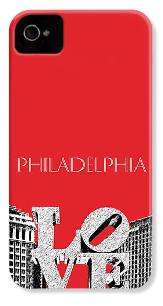 Philadelphia Skyline Love Park - Red IPhone 4 / 4s Case by DB Artist