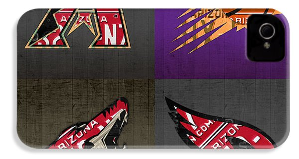 Phoenix Sports Fan Recycled Vintage Arizona License Plate Art Diamondbacks Suns Coyotes Cardinals IPhone 4 Case