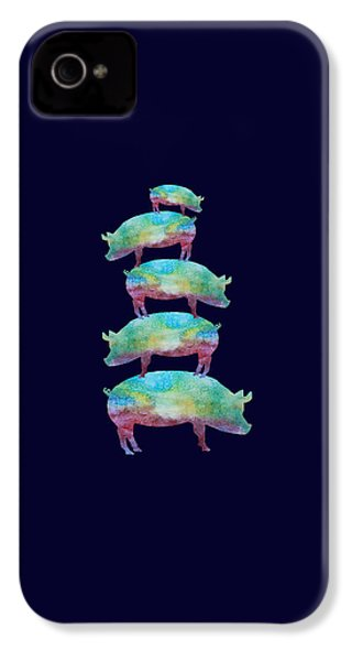 Pig Stack IPhone 4 Case by Jenny Armitage
