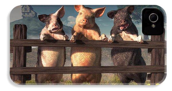 Pigs On A Fence IPhone 4 Case by Daniel Eskridge