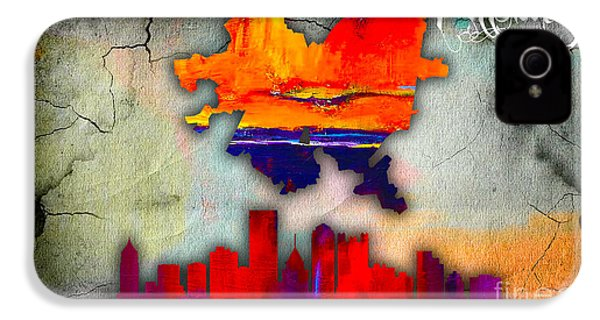 Pittsburgh Map And Skyline Watercolor IPhone 4 Case by Marvin Blaine