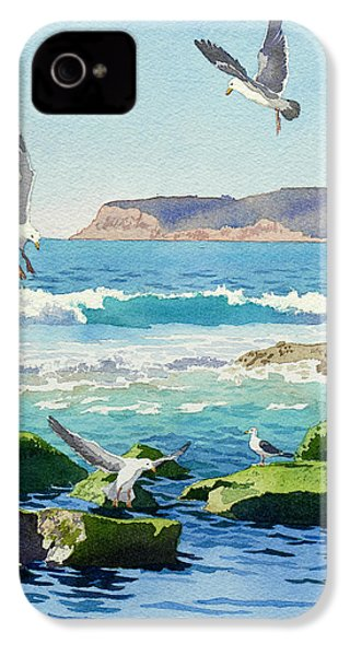 Point Loma Rocks Waves And Seagulls IPhone 4 / 4s Case by Mary Helmreich