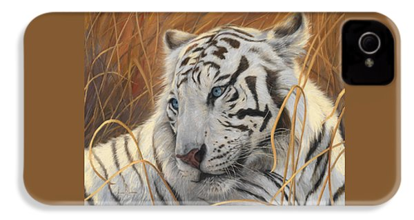 Portrait White Tiger 1 IPhone 4 Case by Lucie Bilodeau