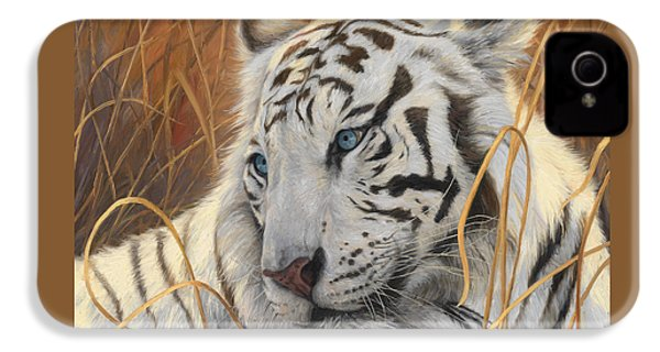 Portrait White Tiger 1 IPhone 4 Case by Lucie Bilodeau