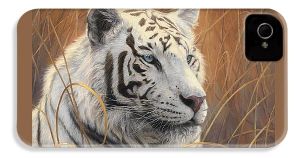 Portrait White Tiger 2 IPhone 4 Case by Lucie Bilodeau