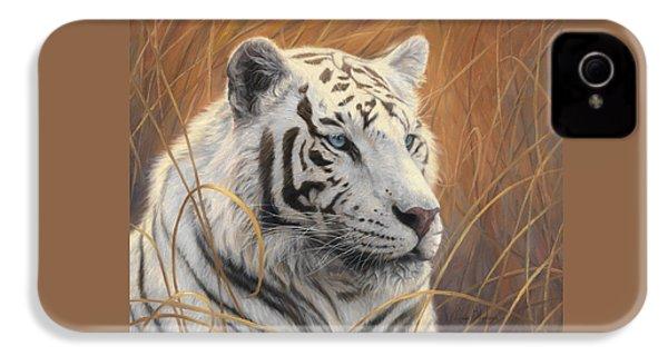 Portrait White Tiger 2 IPhone 4 Case by Lucie Bilodeau