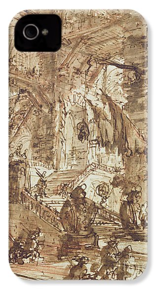 Preparatory Drawing For Plate Number Viii Of The Carceri Al'invenzione Series IPhone 4 / 4s Case by Giovanni Battista Piranesi