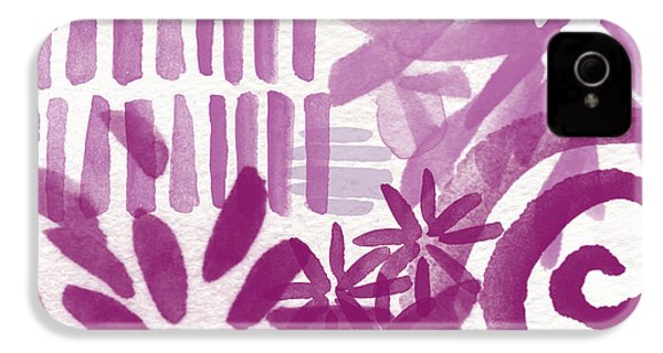 Purple Garden - Contemporary Abstract Watercolor Painting IPhone 4 Case by Linda Woods