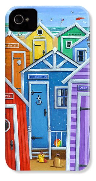 Rainbow Beach Huts IPhone 4 Case by Peter Adderley