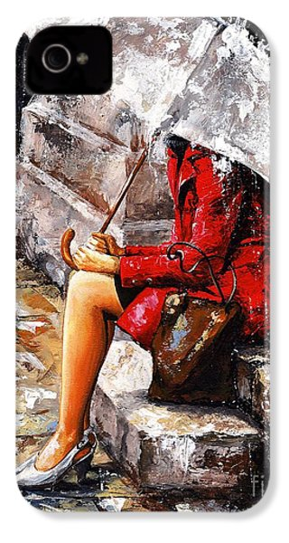 Rainy Day - Woman Of New York IPhone 4 Case by Emerico Imre Toth