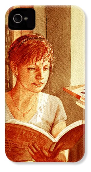 IPhone 4 Case featuring the painting Reading A Book Vintage Style by Irina Sztukowski