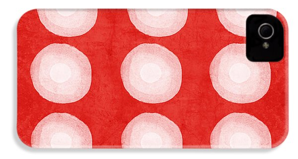 Red And White Shibori Circles IPhone 4 Case by Linda Woods