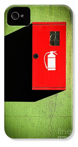 Red Fire Extinguisher Box IPhone 4 Case by Silvia Ganora