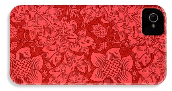 Red Sunflower Wallpaper Design, 1879 IPhone 4 Case by William Morris