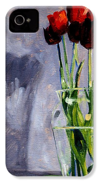 Red Tulips IPhone 4 Case by Nancy Merkle