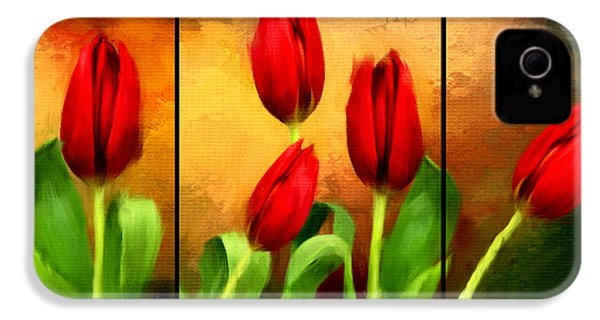 Red Tulips Triptych IPhone 4 / 4s Case by Lourry Legarde