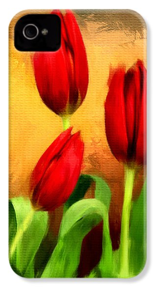 Red Tulips Triptych Section 2 IPhone 4 / 4s Case by Lourry Legarde