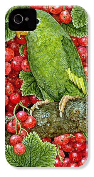 Redcurrant Parakeet IPhone 4 Case by Ditz